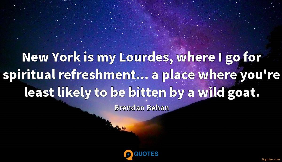 New York is my Lourdes, where I go for spiritual refreshment... a place where you're least likely to be bitten by a wild goat.