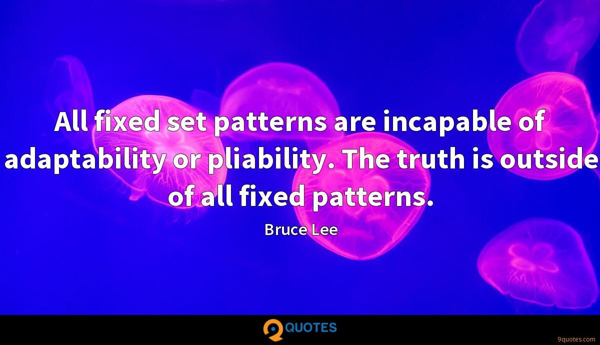 All fixed set patterns are incapable of adaptability or pliability. The truth is outside of all fixed patterns.