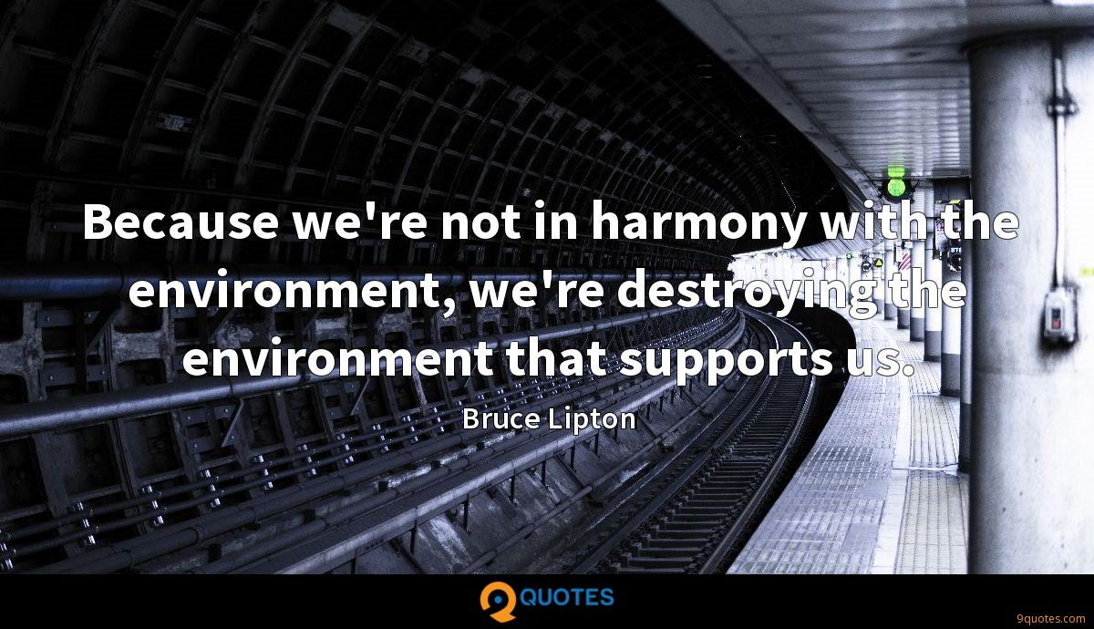 Because we're not in harmony with the environment, we're destroying the environment that supports us.