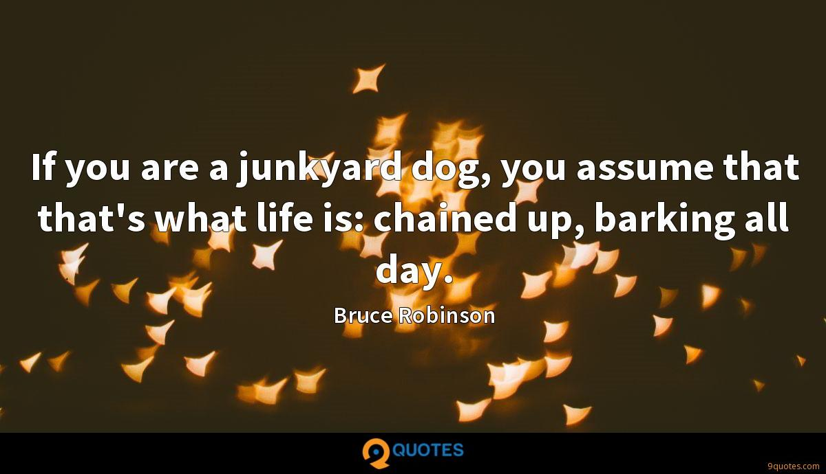 If you are a junkyard dog, you assume that that's what life is: chained up, barking all day.