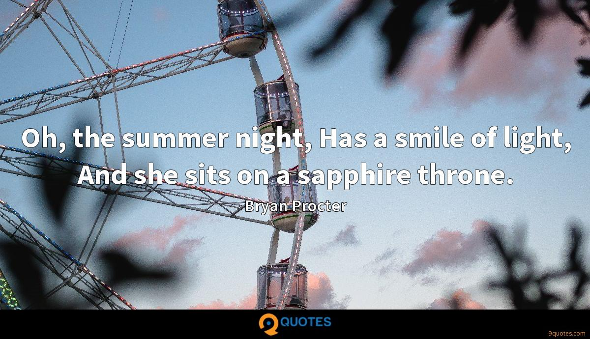 Oh, the summer night, Has a smile of light, And she sits on a sapphire throne.