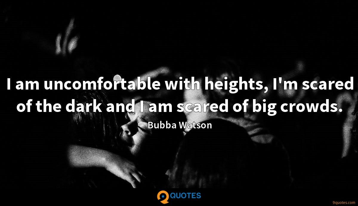 I am uncomfortable with heights, I'm scared of the dark and I am scared of big crowds.