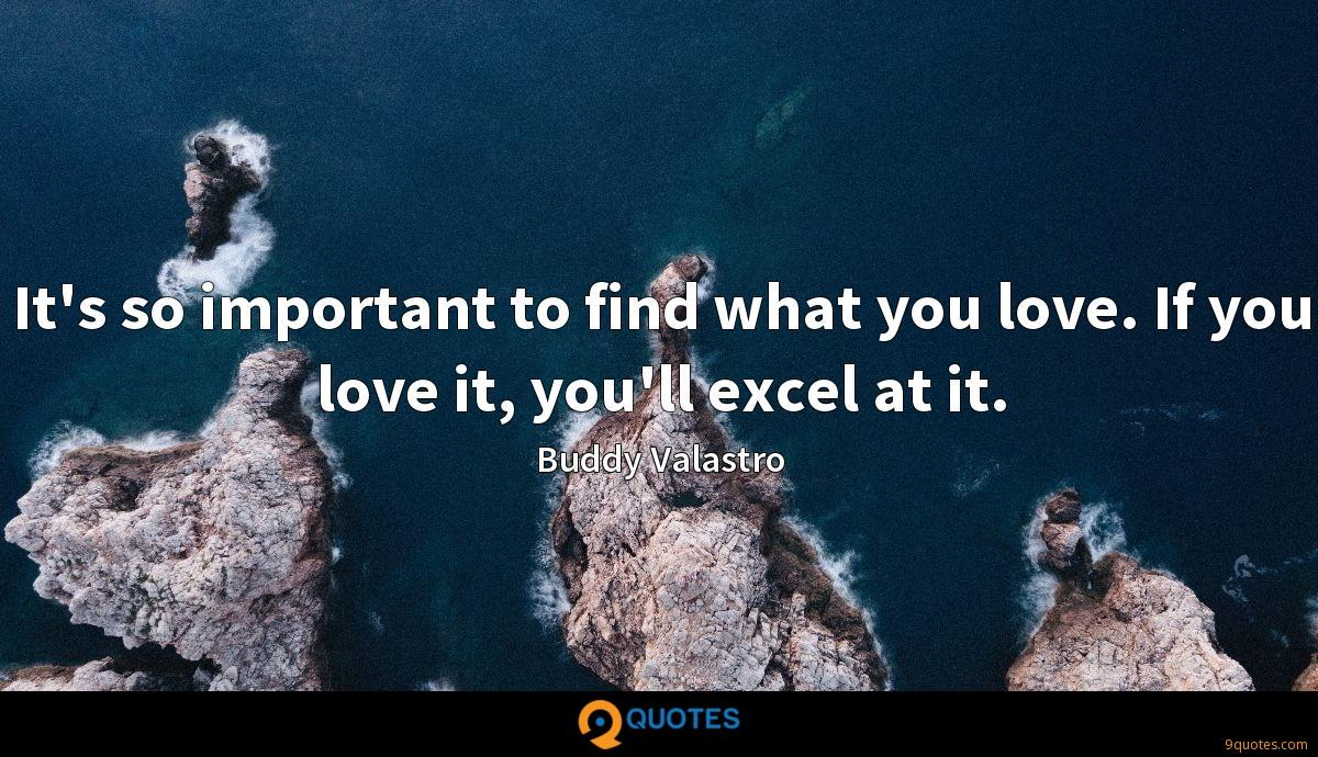 It's so important to find what you love. If you love it, you'll excel at it.