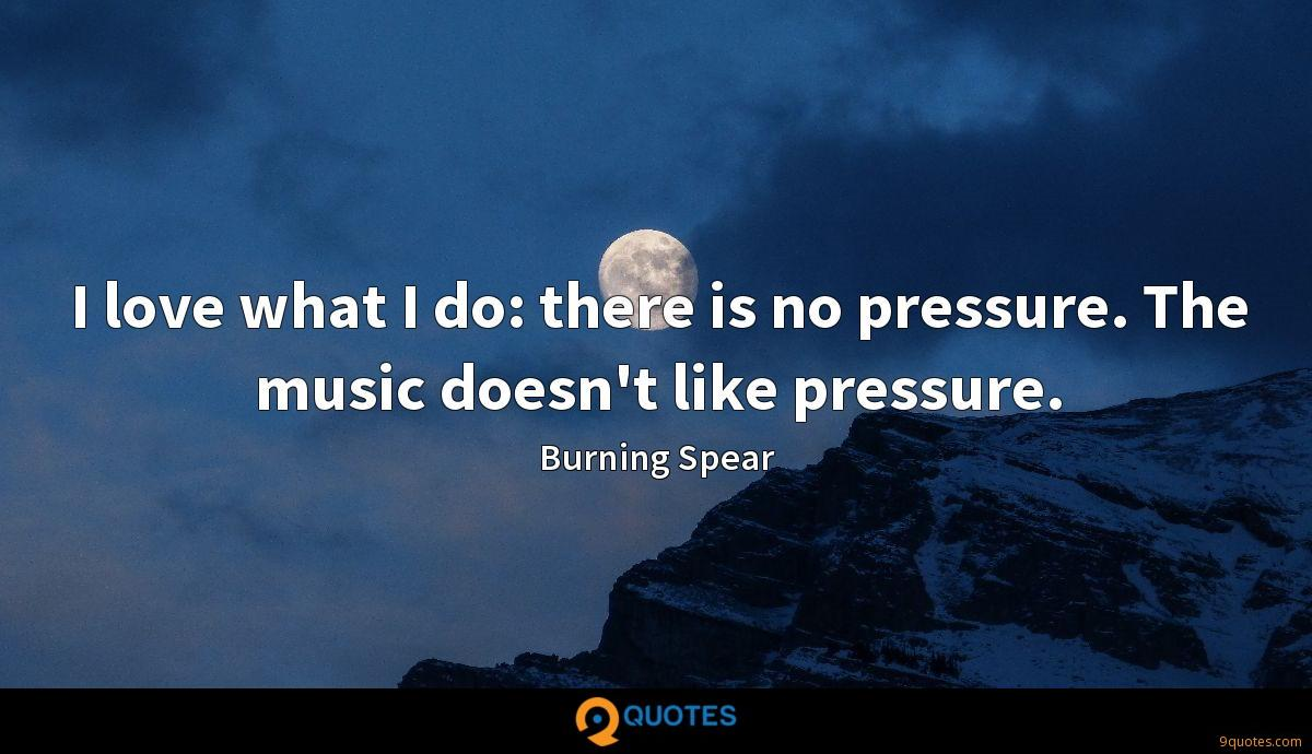 I love what I do: there is no pressure. The music doesn't like pressure.