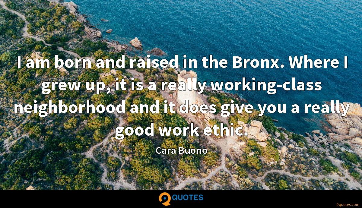 I am born and raised in the Bronx. Where I grew up, it is a really working-class neighborhood and it does give you a really good work ethic.