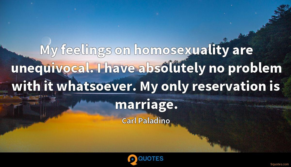 My feelings on homosexuality are unequivocal. I have absolutely no problem with it whatsoever. My only reservation is marriage.