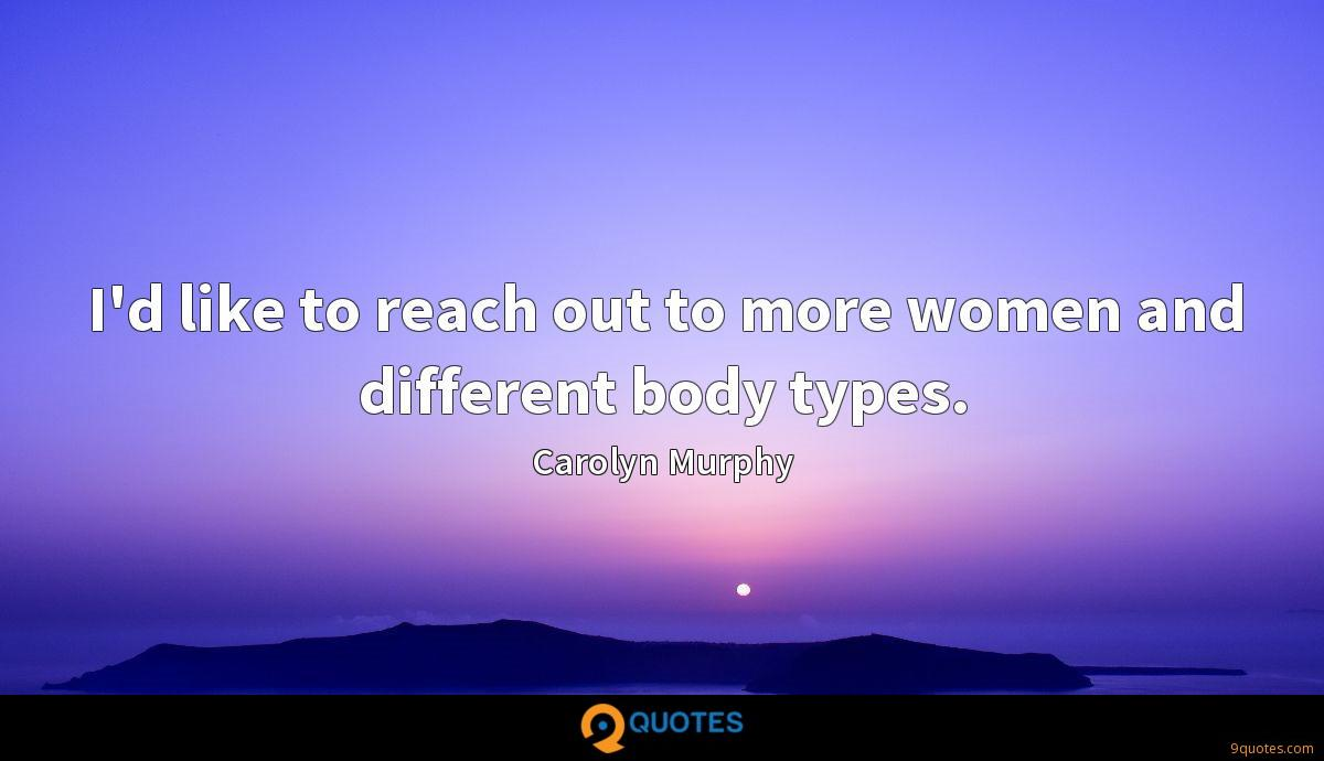 I'd like to reach out to more women and different body types.