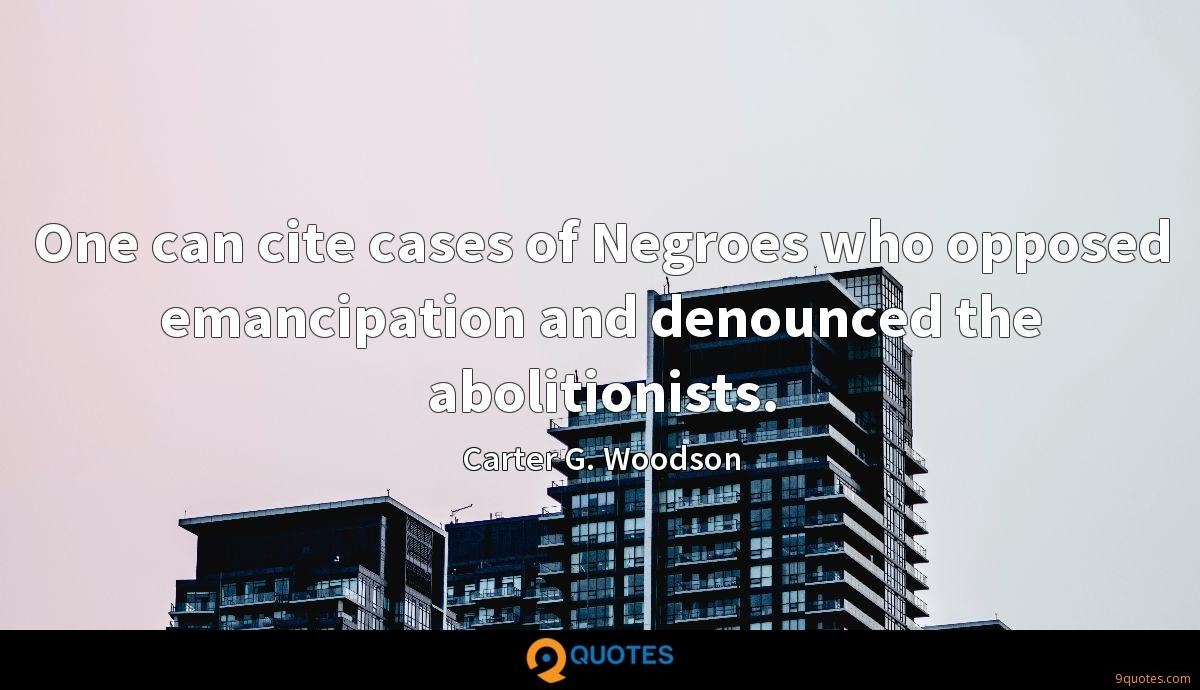 One can cite cases of Negroes who opposed emancipation and denounced the abolitionists.