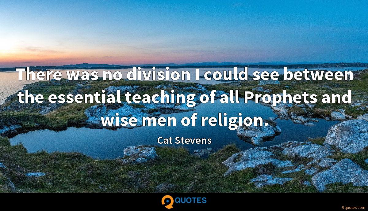 There was no division I could see between the essential teaching of all Prophets and wise men of religion.
