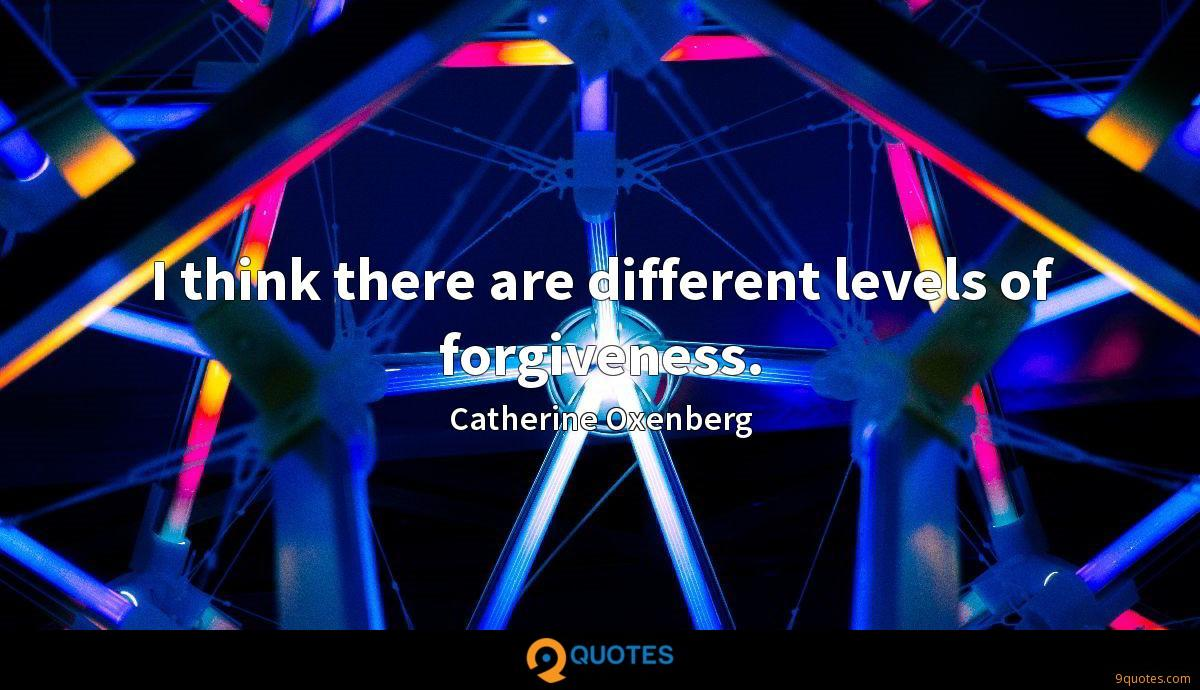 I think there are different levels of forgiveness.