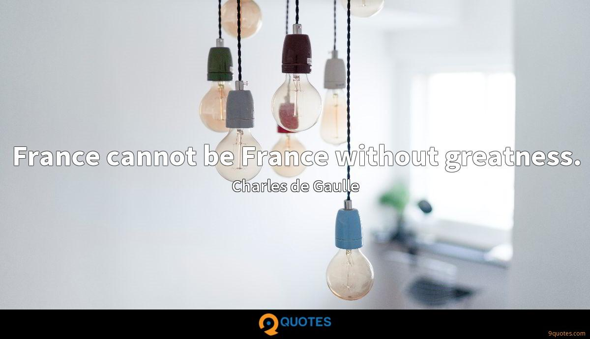 France cannot be France without greatness.