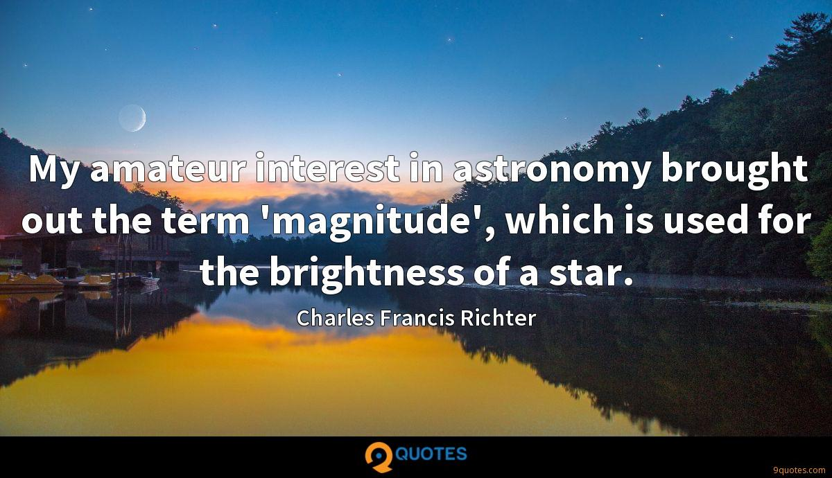 My amateur interest in astronomy brought out the term 'magnitude', which is used for the brightness of a star.