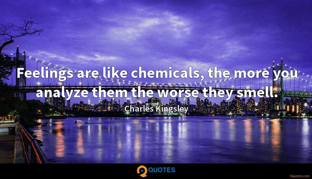 Feelings are like chemicals, the more you analyze them the worse they smell.