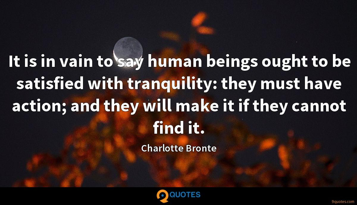 It is in vain to say human beings ought to be satisfied with tranquility: they must have action; and they will make it if they cannot find it.