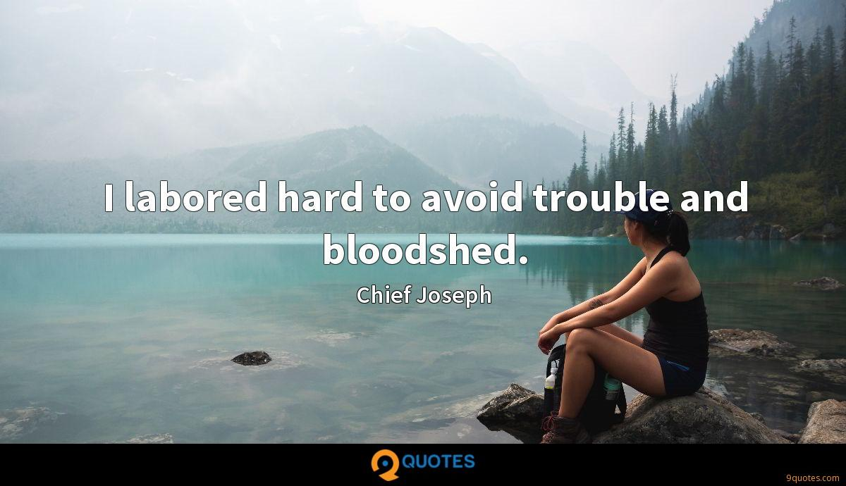 I labored hard to avoid trouble and bloodshed.