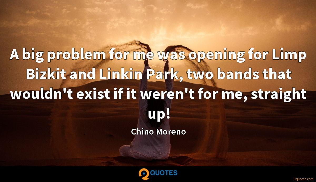 A big problem for me was opening for Limp Bizkit and Linkin Park, two bands that wouldn't exist if it weren't for me, straight up!