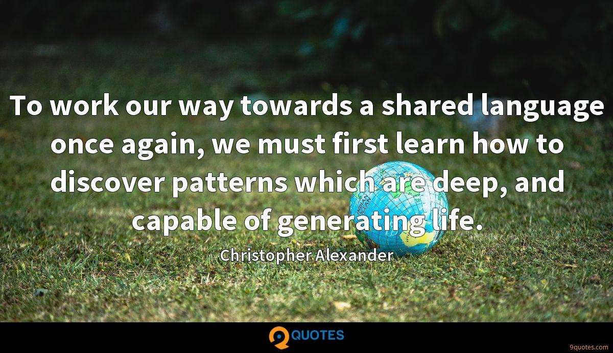 To work our way towards a shared language once again, we must first learn how to discover patterns which are deep, and capable of generating life.