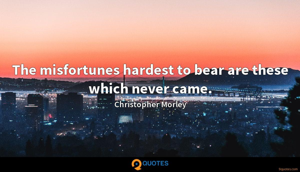 The misfortunes hardest to bear are these which never came.