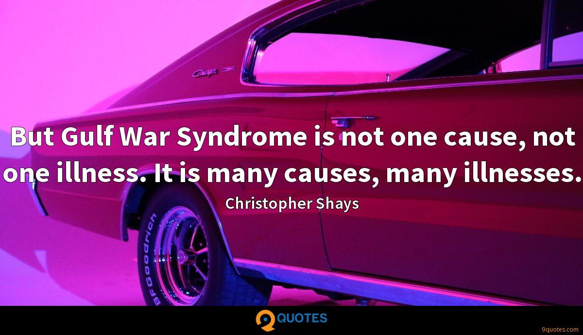 But Gulf War Syndrome is not one cause, not one illness. It is many causes, many illnesses.