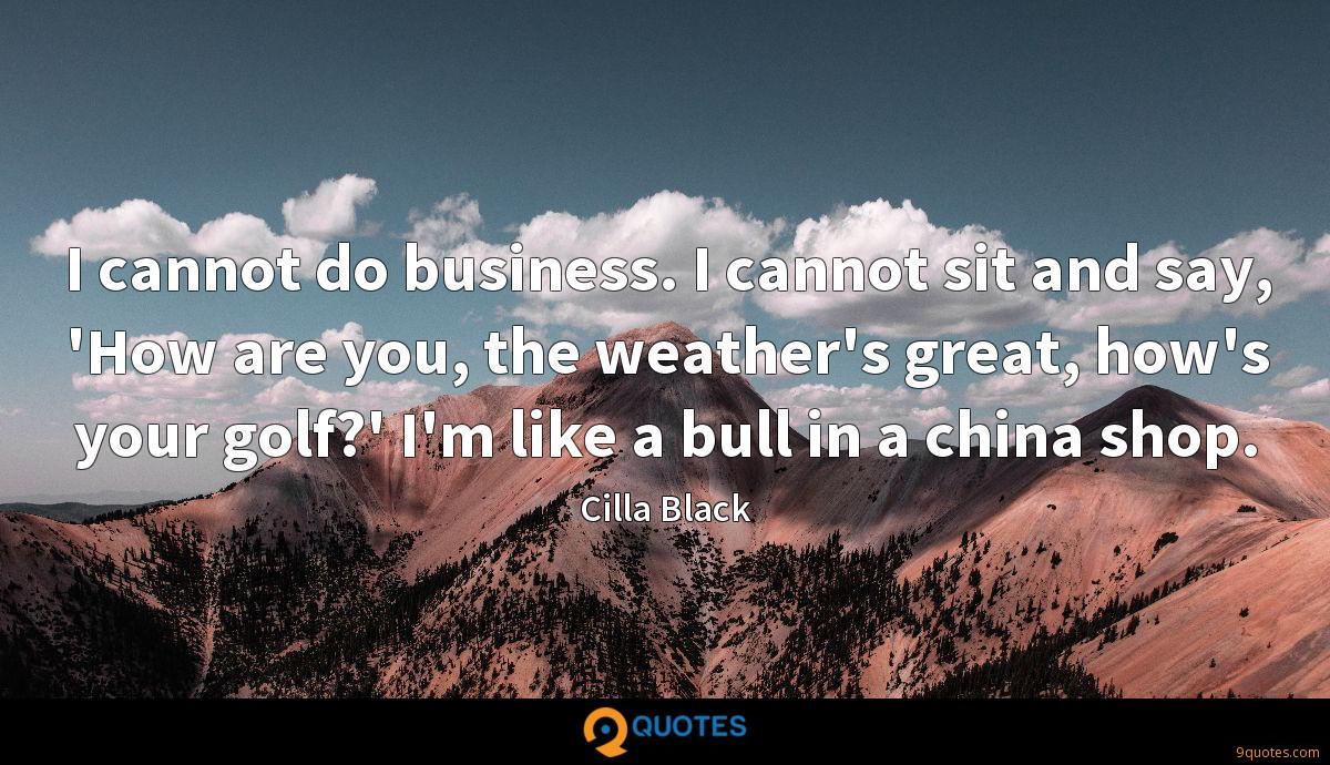 I cannot do business. I cannot sit and say, 'How are you, the weather's great, how's your golf?' I'm like a bull in a china shop.