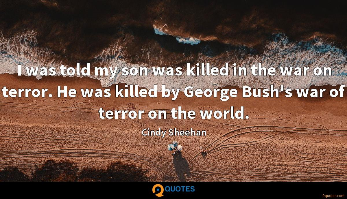 I was told my son was killed in the war on terror. He was killed by George Bush's war of terror on the world.