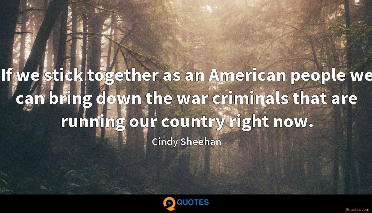 If we stick together as an American people we can bring down the war criminals that are running our country right now.