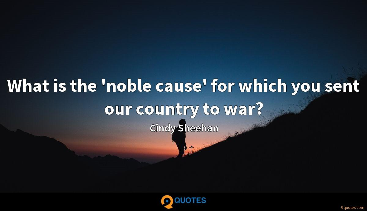 What is the 'noble cause' for which you sent our country to war?