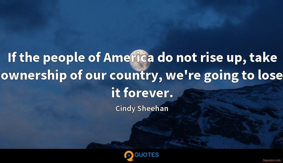 If the people of America do not rise up, take ownership of our country, we're going to lose it forever.