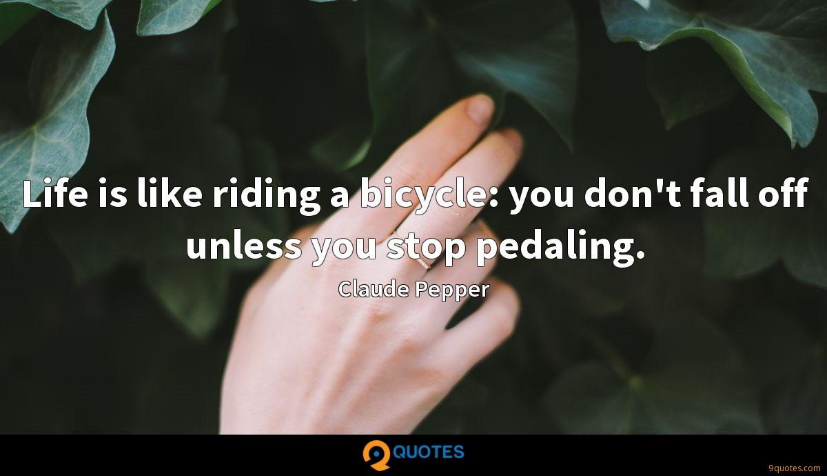 Life is like riding a bicycle: you don't fall off unless you stop pedaling.