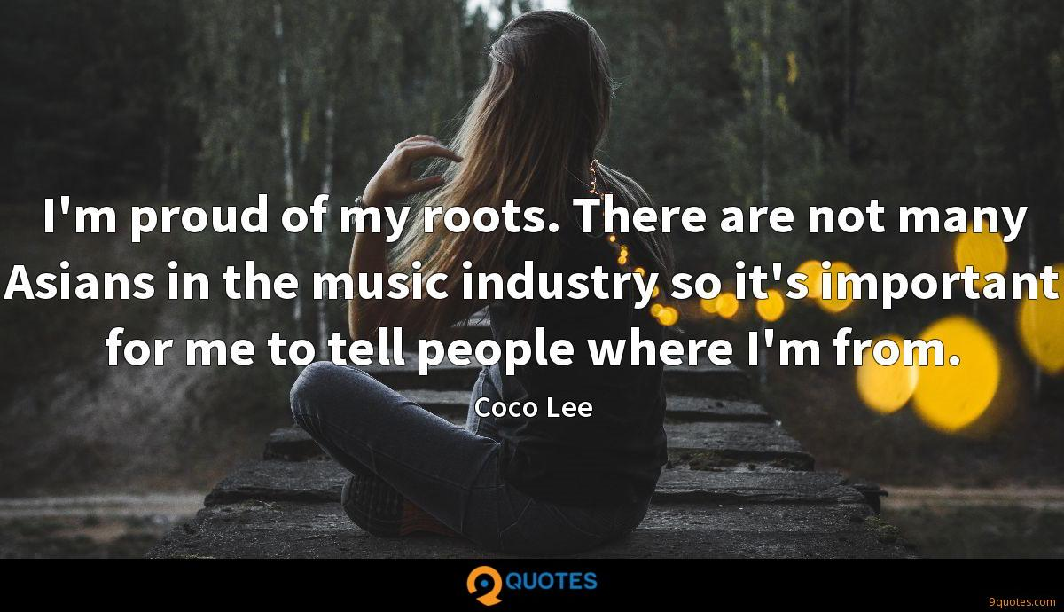 I'm proud of my roots. There are not many Asians in the music industry so it's important for me to tell people where I'm from.