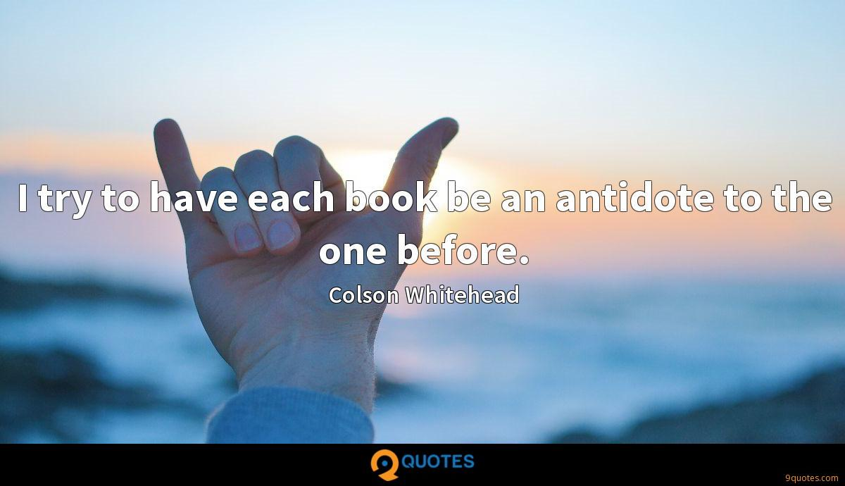 I try to have each book be an antidote to the one before.