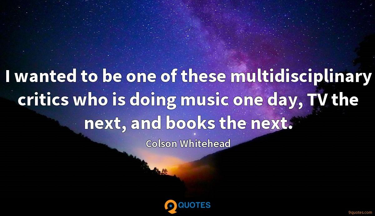 I wanted to be one of these multidisciplinary critics who is doing music one day, TV the next, and books the next.