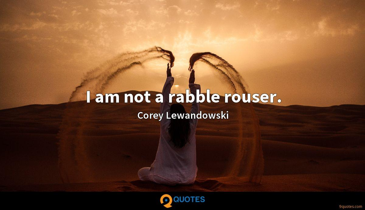 I am not a rabble rouser.