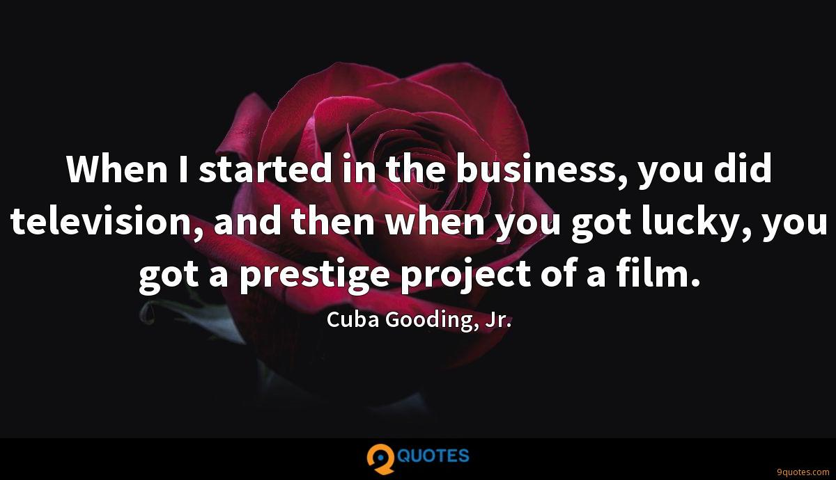 When I started in the business, you did television, and then when you got lucky, you got a prestige project of a film.
