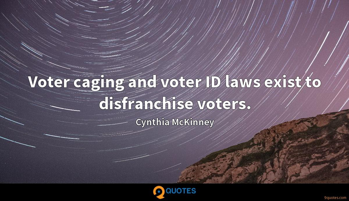Voter caging and voter ID laws exist to disfranchise voters.