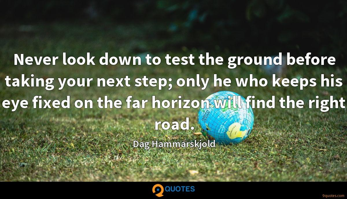 Never look down to test the ground before taking your next step; only he who keeps his eye fixed on the far horizon will find the right road.