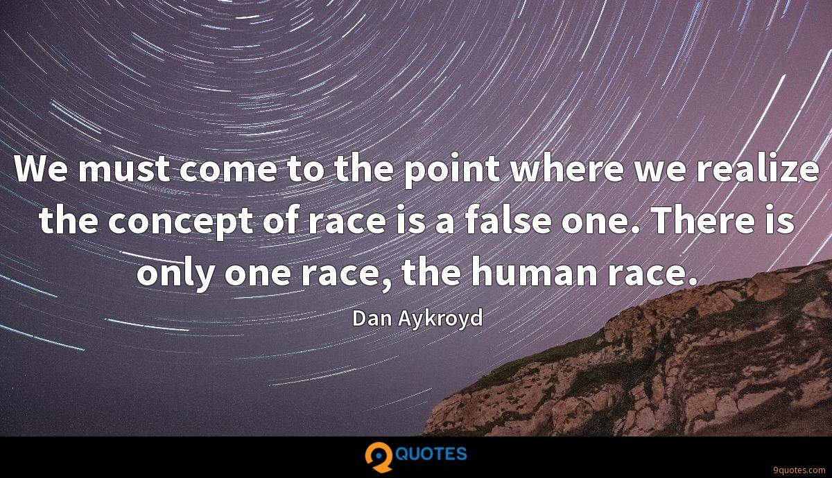 We must come to the point where we realize the concept of race is a false one. There is only one race, the human race.