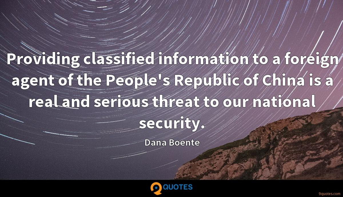Providing classified information to a foreign agent of the People's Republic of China is a real and serious threat to our national security.