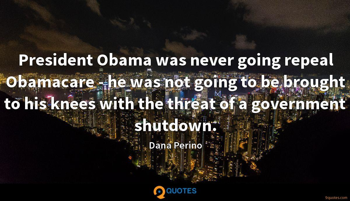 President Obama was never going repeal Obamacare - he was not going to be brought to his knees with the threat of a government shutdown.