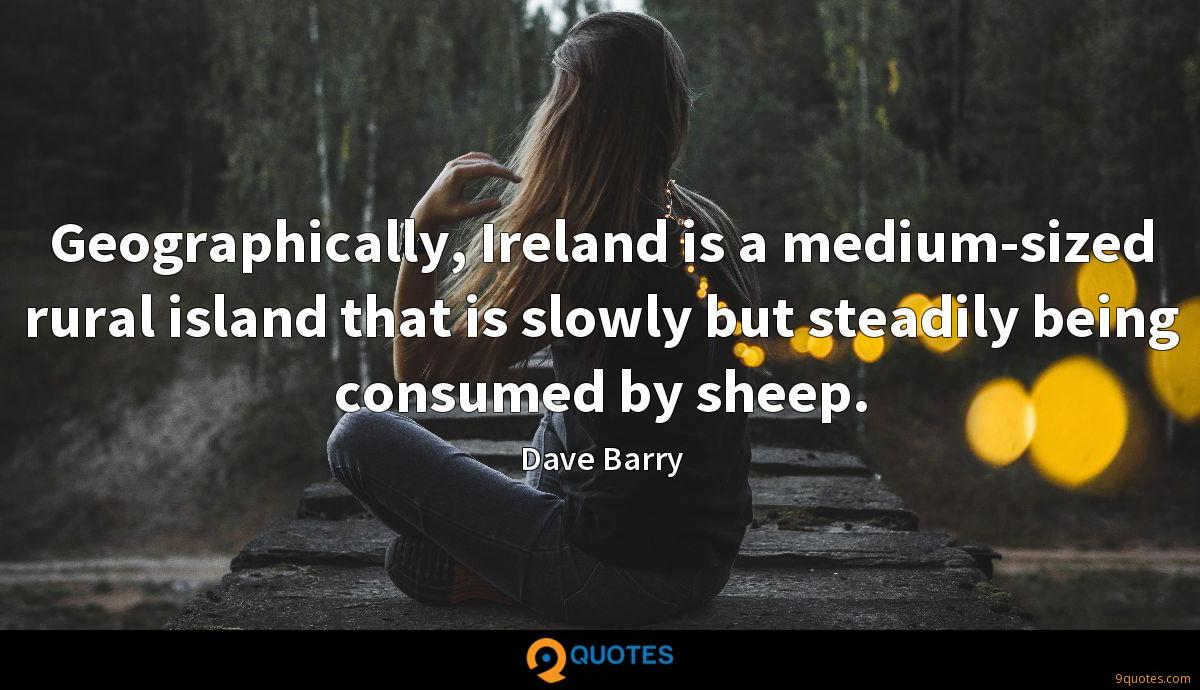 Geographically, Ireland is a medium-sized rural island that is slowly but steadily being consumed by sheep.