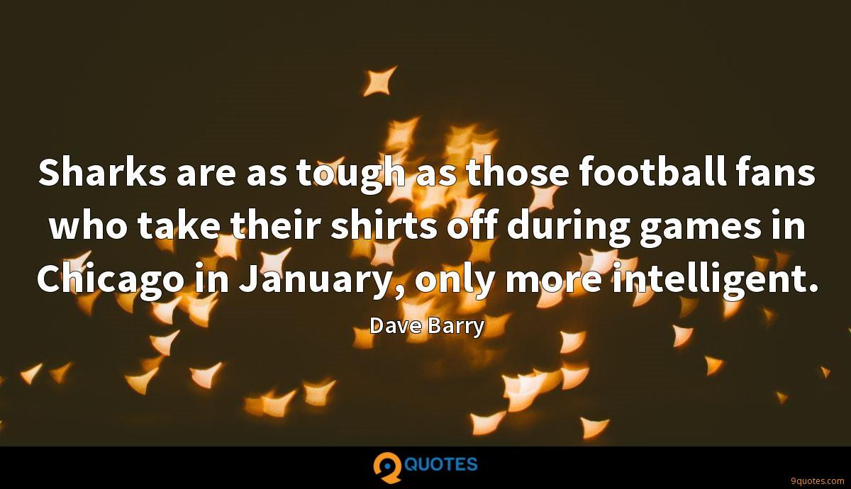 Sharks are as tough as those football fans who take their shirts off during games in Chicago in January, only more intelligent.