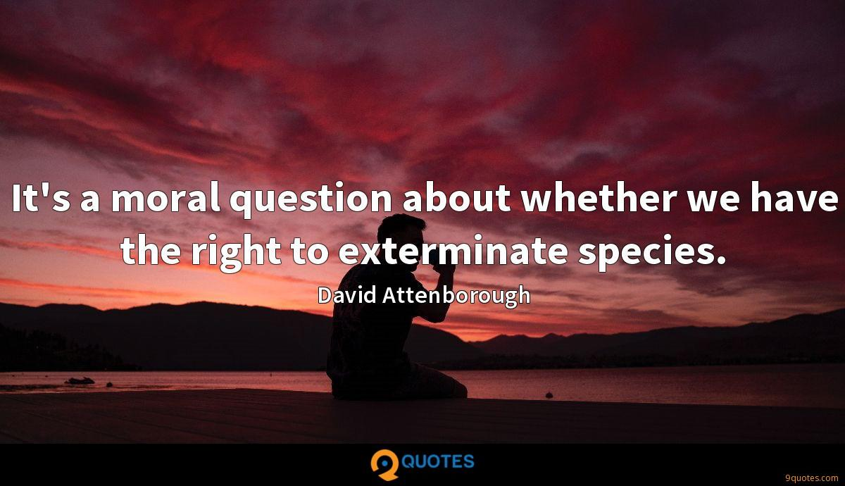 It's a moral question about whether we have the right to exterminate species.