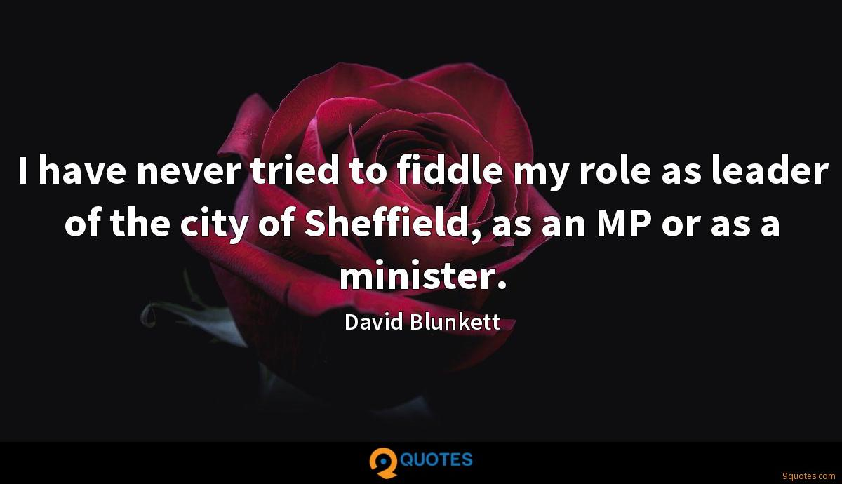I have never tried to fiddle my role as leader of the city of Sheffield, as an MP or as a minister.