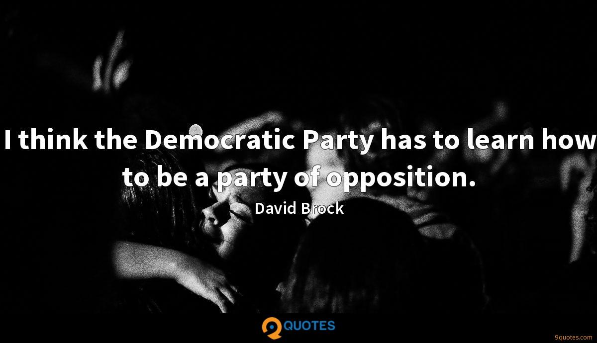 I think the Democratic Party has to learn how to be a party of opposition.