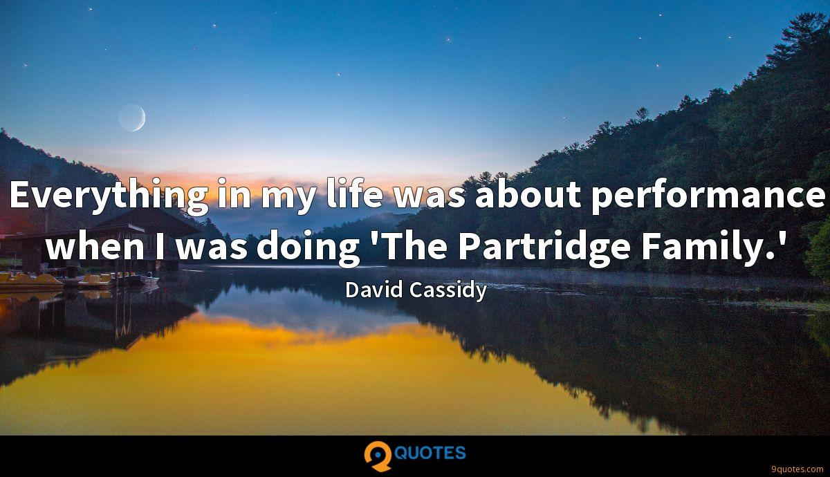 Everything in my life was about performance when I was doing 'The Partridge Family.'