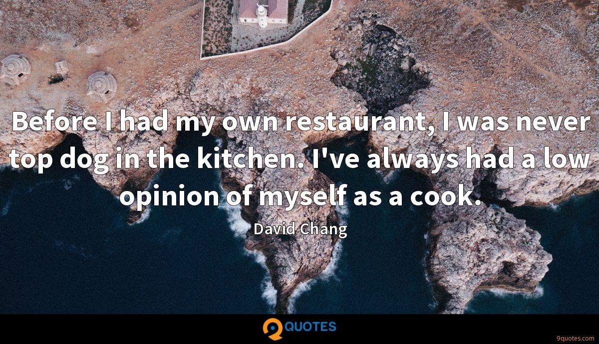 Before I had my own restaurant, I was never top dog in the kitchen. I've always had a low opinion of myself as a cook.