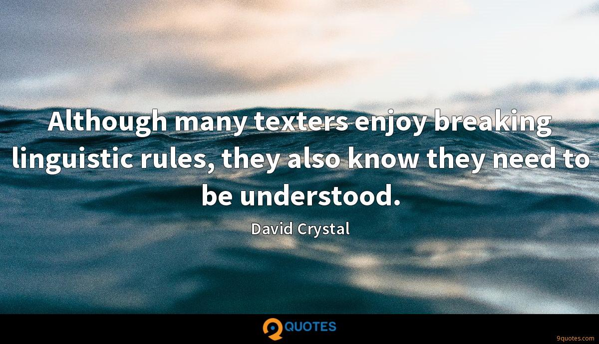 Although many texters enjoy breaking linguistic rules, they also know they need to be understood.