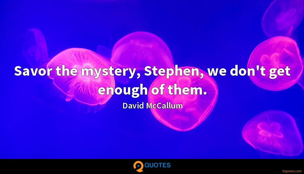 Savor the mystery, Stephen, we don't get enough of them.