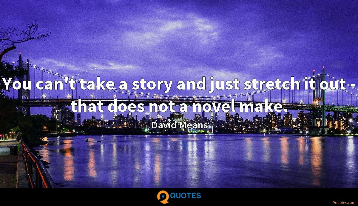 You can't take a story and just stretch it out - that does not a novel make.