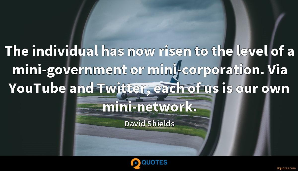 The individual has now risen to the level of a mini-government or mini-corporation. Via YouTube and Twitter, each of us is our own mini-network.